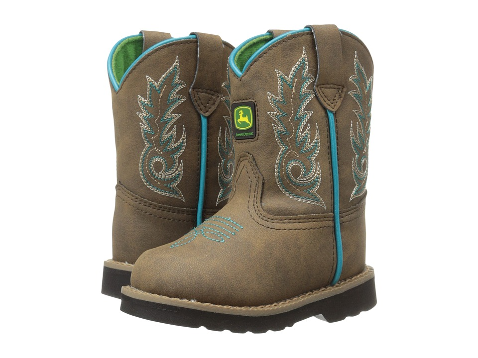 John Deere - Everyday Round Toe (Toddler) (Distressed/Turquoise) Men's Work Boots