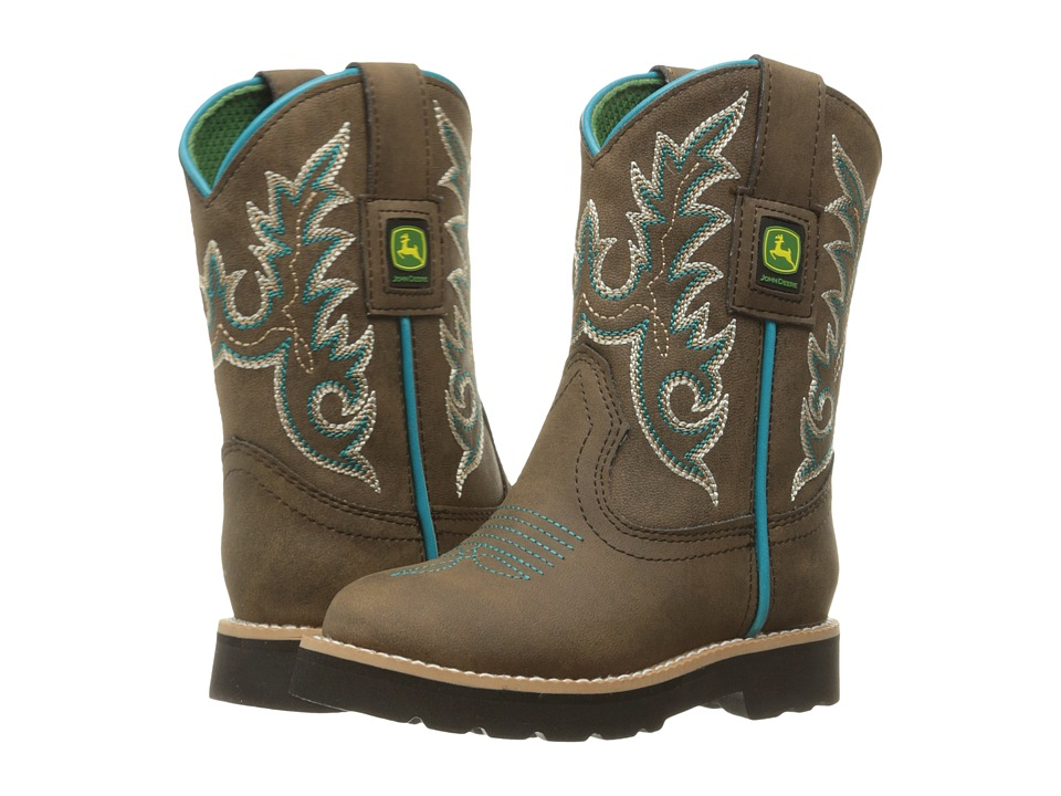 John Deere - Everyday Round Toe (Toddler/Little Kid) (Distressed/Turquoise) Men's Work Boots