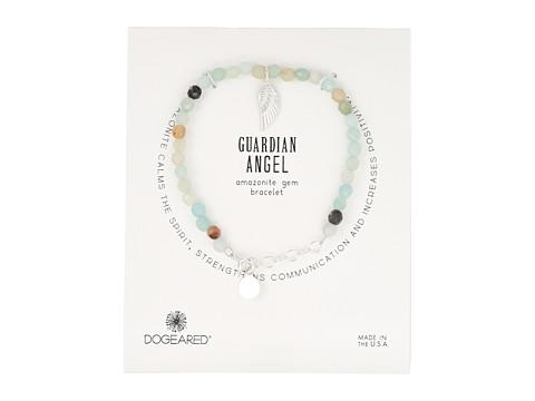 Dogeared Gem Bracelet, Guardian Angel, Angel Wing Charm, Amazonite Bead - Silver