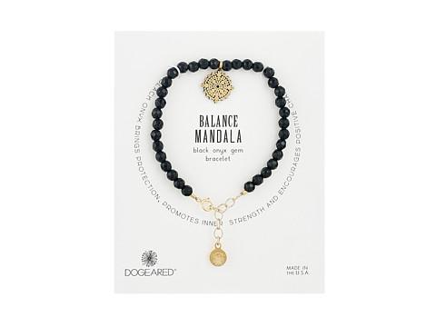 Dogeared Gem Bracelet, Balance Mandala, Small Balance Mandala, Black Onyx Bead - Gold