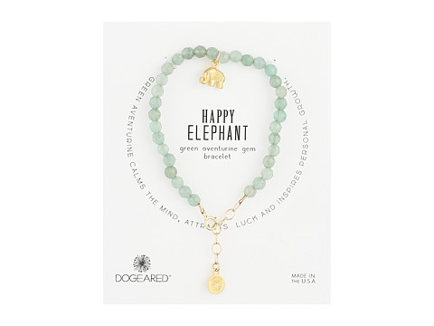 Dogeared Gem Bracelet, Happy Elephant, Happy Elephant Charm, Green Adventurine Bead - Gold