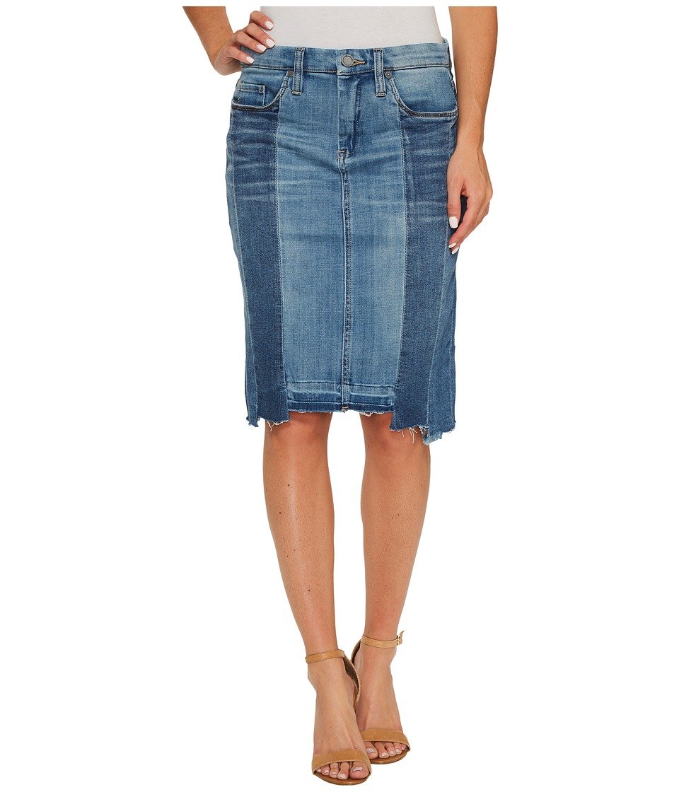 Blank NYC Novelty Denim Pencil Skirt with Seaming Detail Contrast of Denim Washes in High and Low (High and Low) Women