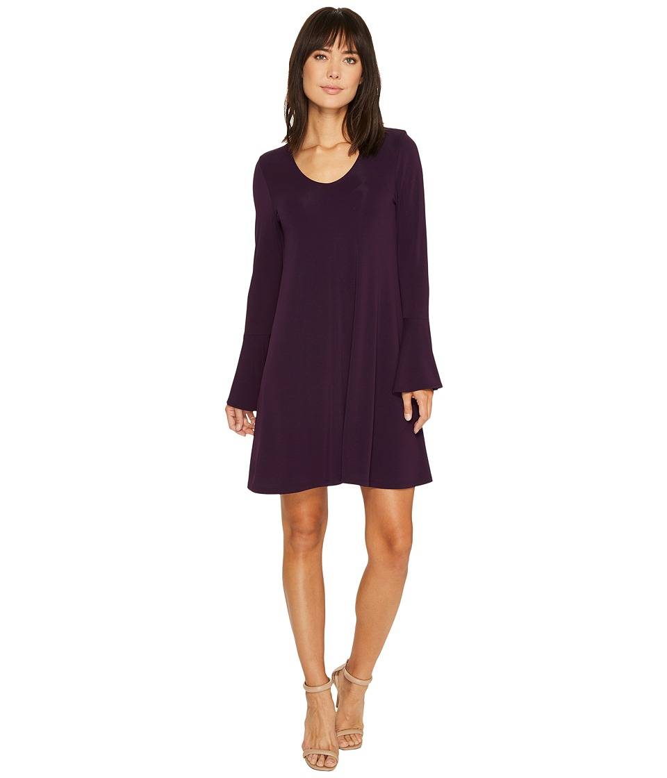 Karen Kane Flare Sleeve Taylor Dress (Eggplant) Women