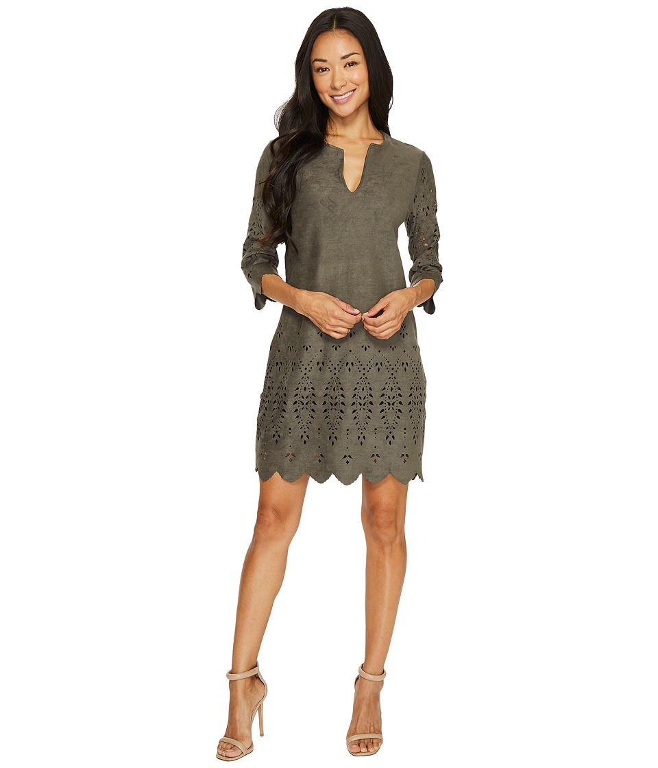 Karen Kane Laser Cut Faux Suede Dress (Slate) Women