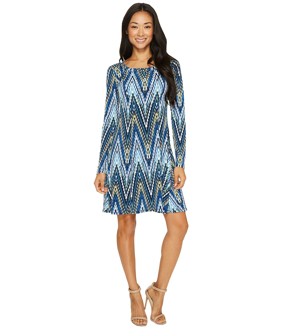 Karen Kane Long Sleeve A-Line Dress (Print) Women