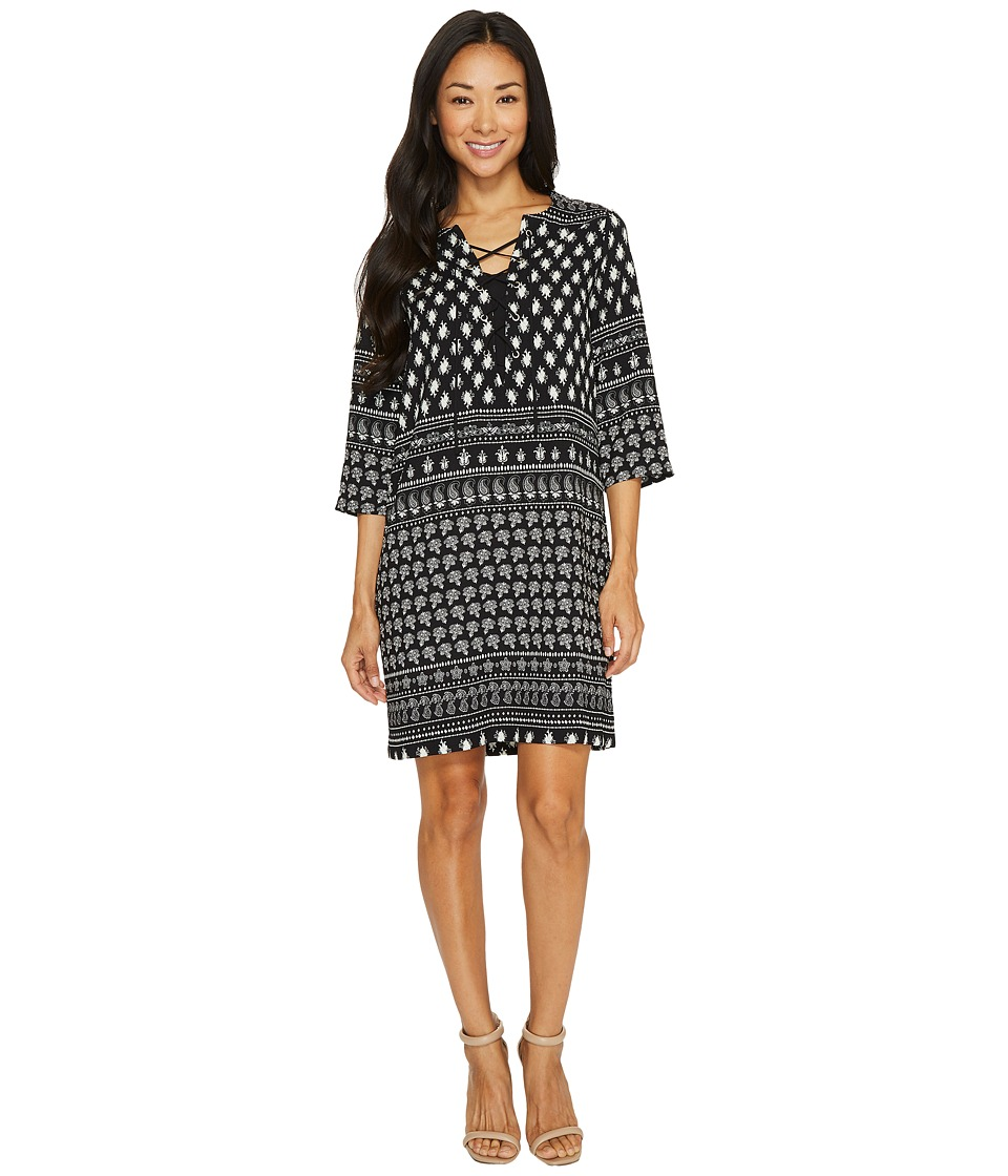 Karen Kane Lace-Up 3/4 Sleeve Dress (Print) Women