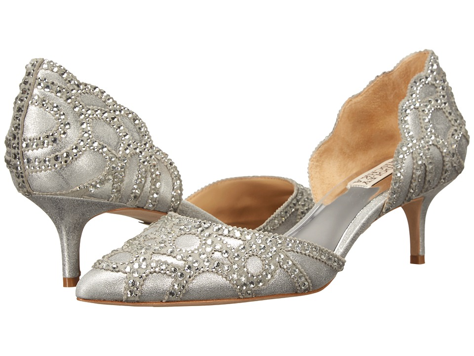 Vintage Inspired Wedding Dresses Badgley Mischka - Ginny Silver Metallic Suede Womens 1-2 inch heel Shoes $235.00 AT vintagedancer.com