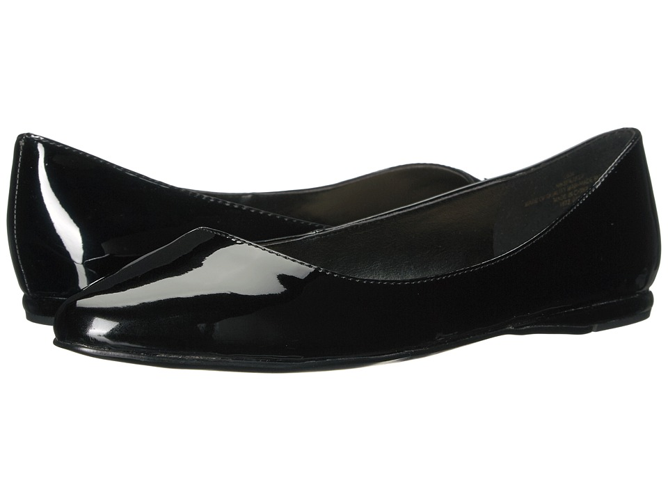Vintage Style Shoes, Vintage Inspired Shoes Nine West - SpeakUp Black Patent Synthetic Womens Dress Flat Shoes $68.95 AT vintagedancer.com