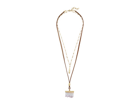 Lucky Brand Druzy and Leather Double Necklace - Gold