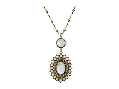 Lucky Brand Mother-of-Pearl Squash Blossom Pendant Necklace - Gold