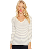 Three Dots - Tahoe Stripe 3/4 Sleeve Deep V-Neck