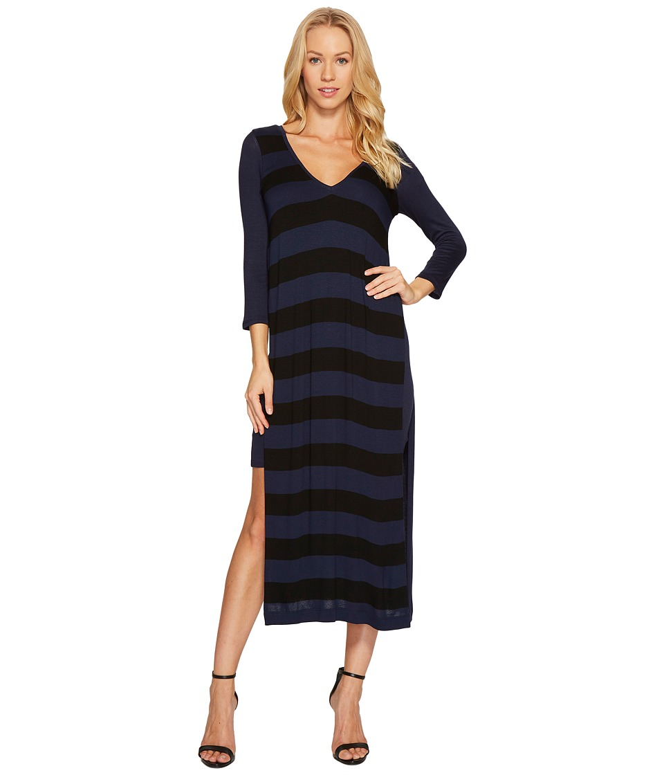 Three Dots Featherweight Stripe Double V-Neck Dress (Black/Night Iris) Women