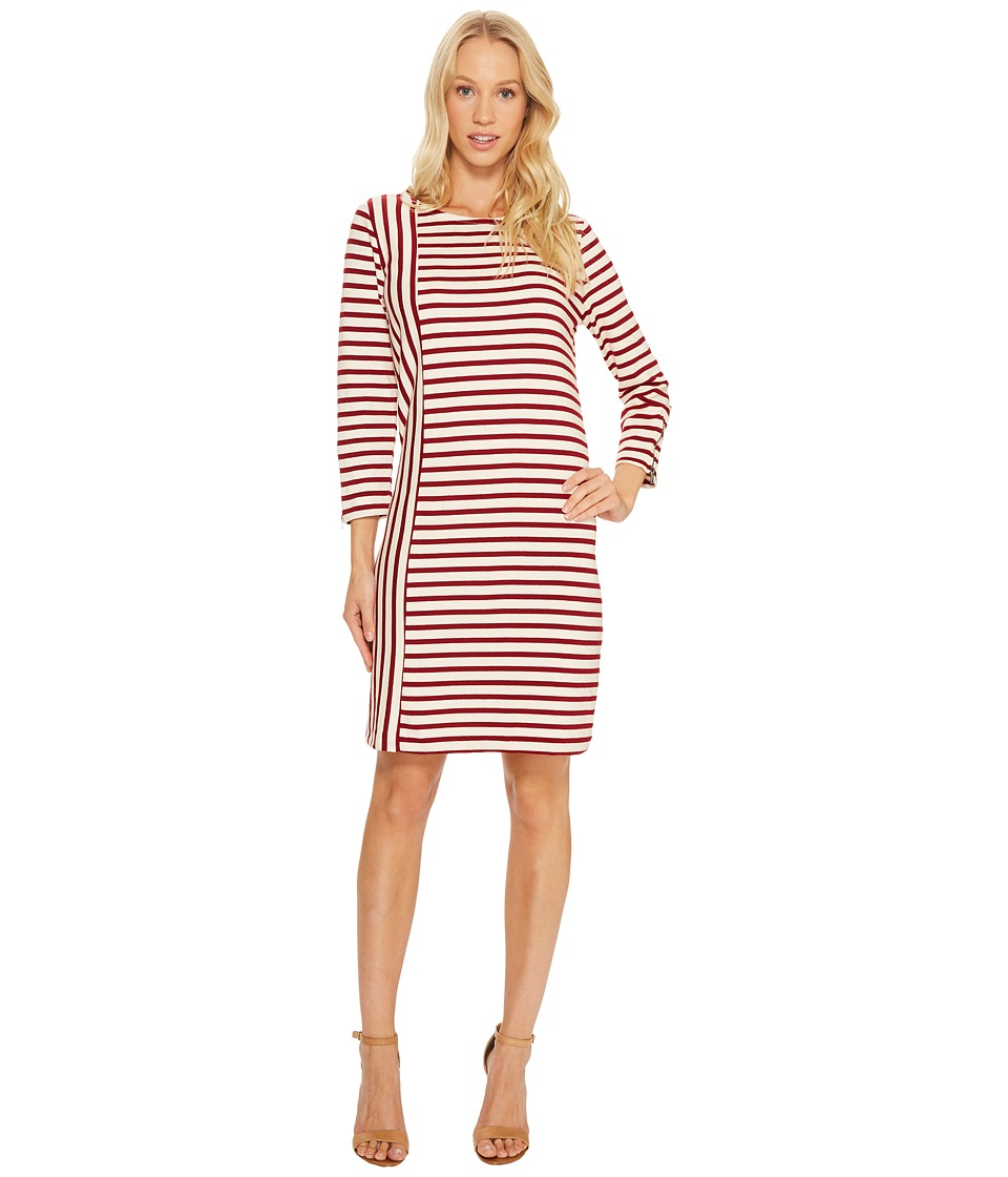 Three Dots Breton Stripe Combo Shift Dress (Wine/Cream) Women