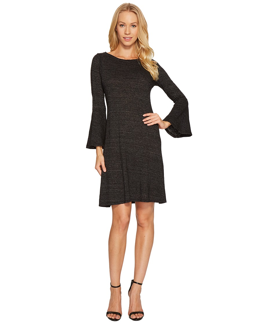 Three Dots Nepp Jersey Flutter Sleeve Dress (Black) Women