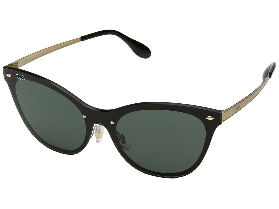 Ray-Ban Blaze Cat Eye RB3580N 43mm (Brushed Gold/Green Classic) Fashion Sunglasses