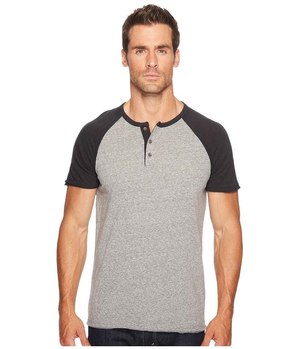 Lucky Brand Short Sleeve Baseball Henley (Black Sleeve/Grey Body) Men