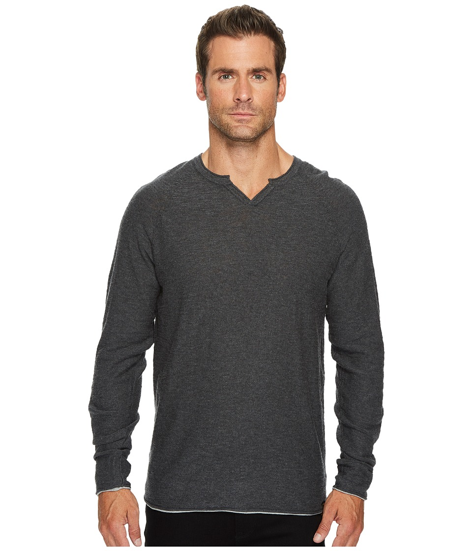 Lucky Brand Notch Neck Sweater (Charcoal) Men