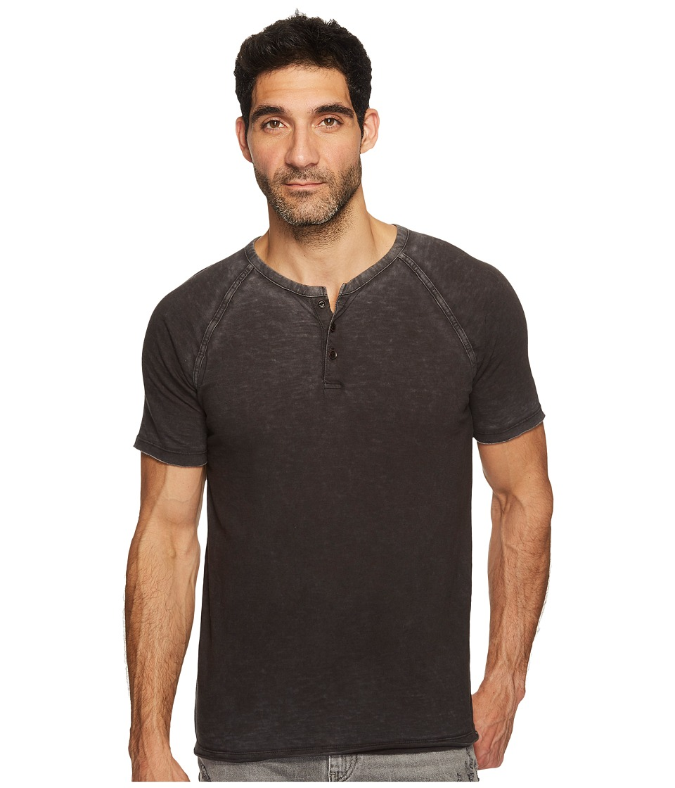 Lucky Brand Pigment Dyed Henley (Jet Black) Men