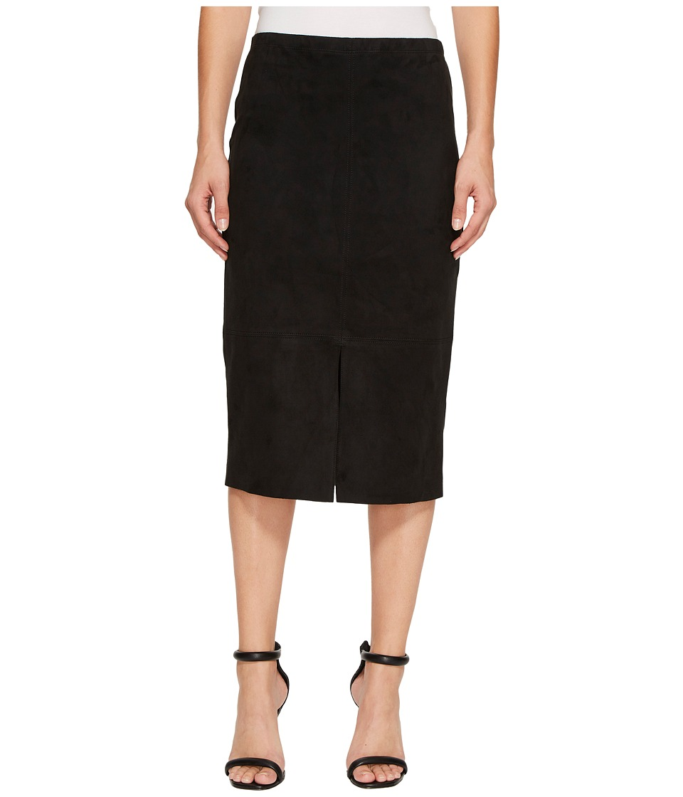 Karen Kane Faux Suede Midi Skirt (Black) Women