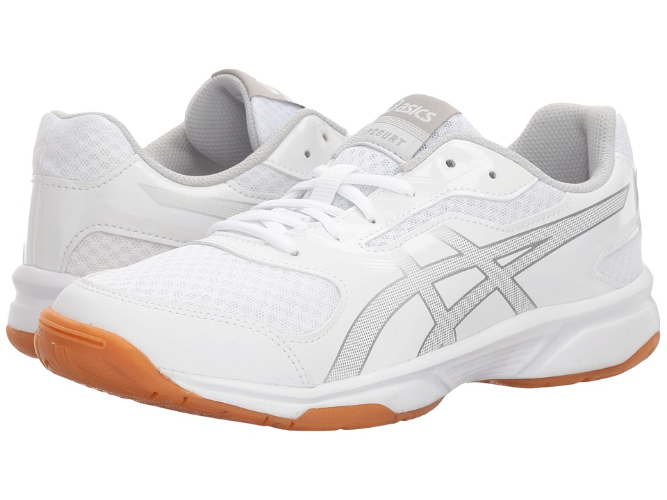 Asics Gel-Upcourt 2 (White/Silver) Women's Volleyball Shoes