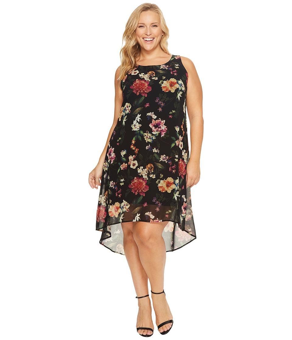 Karen Kane Plus Plus Size Floral Hi-Lo Hem Dress (Print) Women