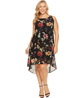 Karen Kane Plus - Plus Size Floral Hi-Lo Hem Dress
