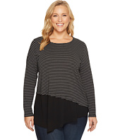 Karen Kane Plus - Plus Size Contrast Asymmetric Top