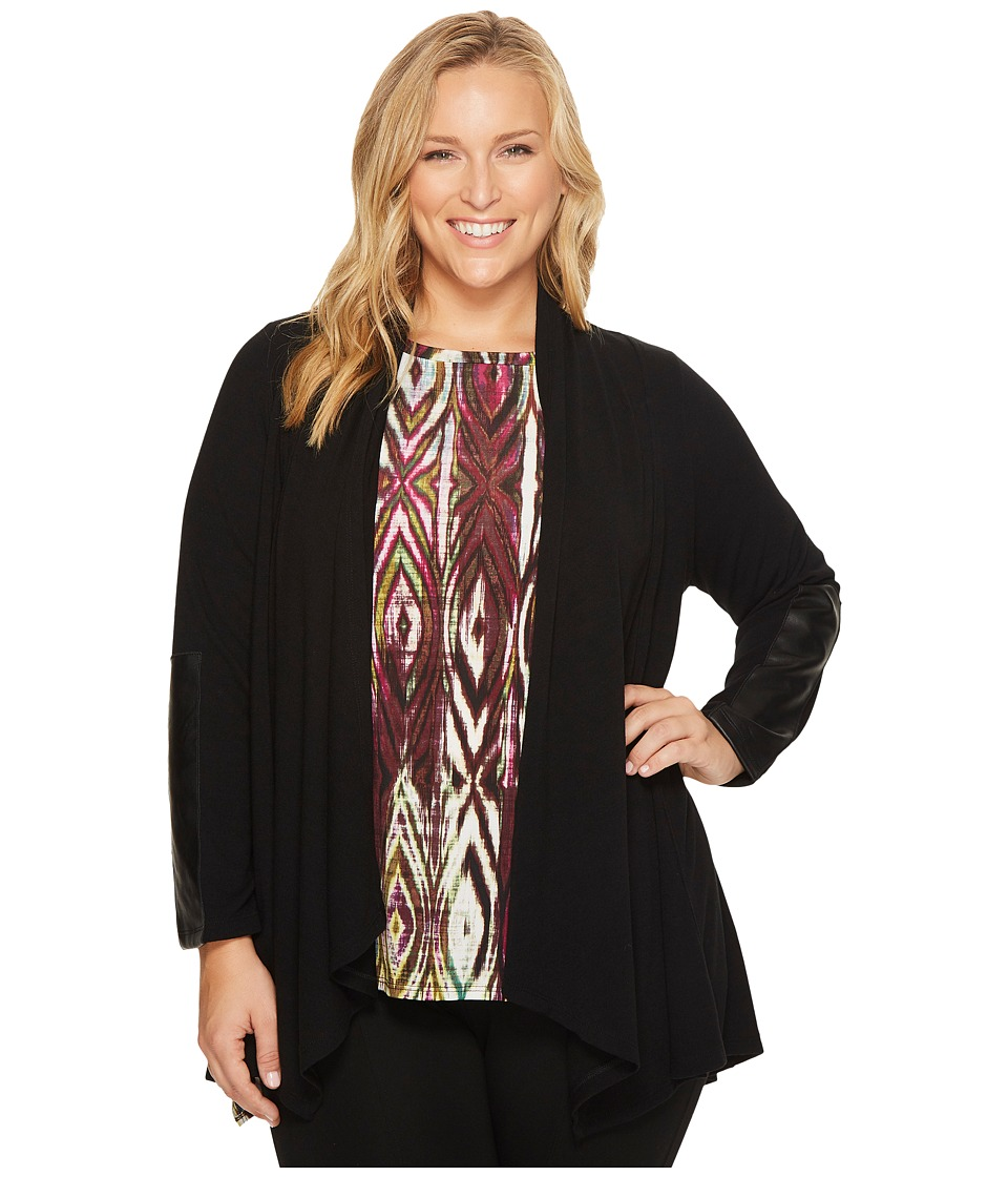 Karen Kane Plus Karen Kane Plus - Plus Size Faux Leather Patch Sweater Jacket