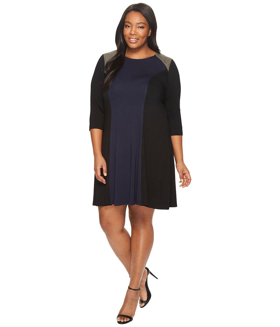 Karen Kane Plus Plus Size Faux Suede Yoke Color Block Dress (Navy/Black) Women