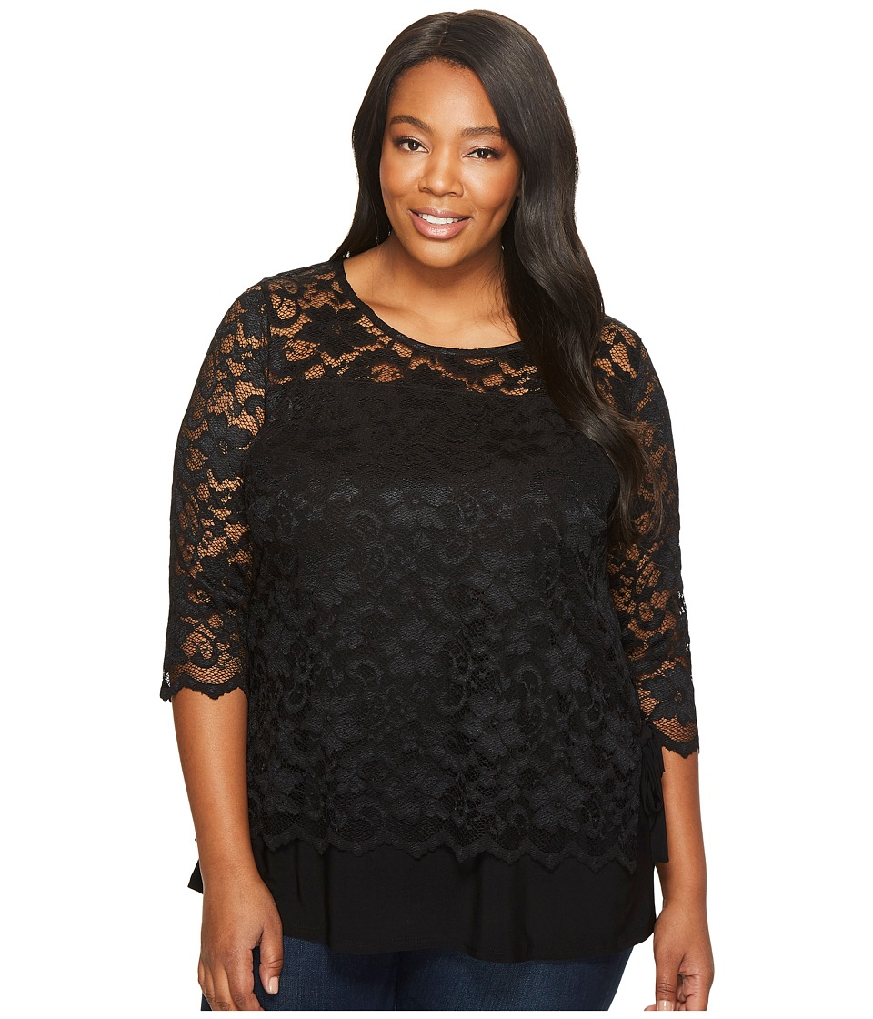 Karen Kane Plus - Plus Size Lace Side Tie Top (Black) Wom...