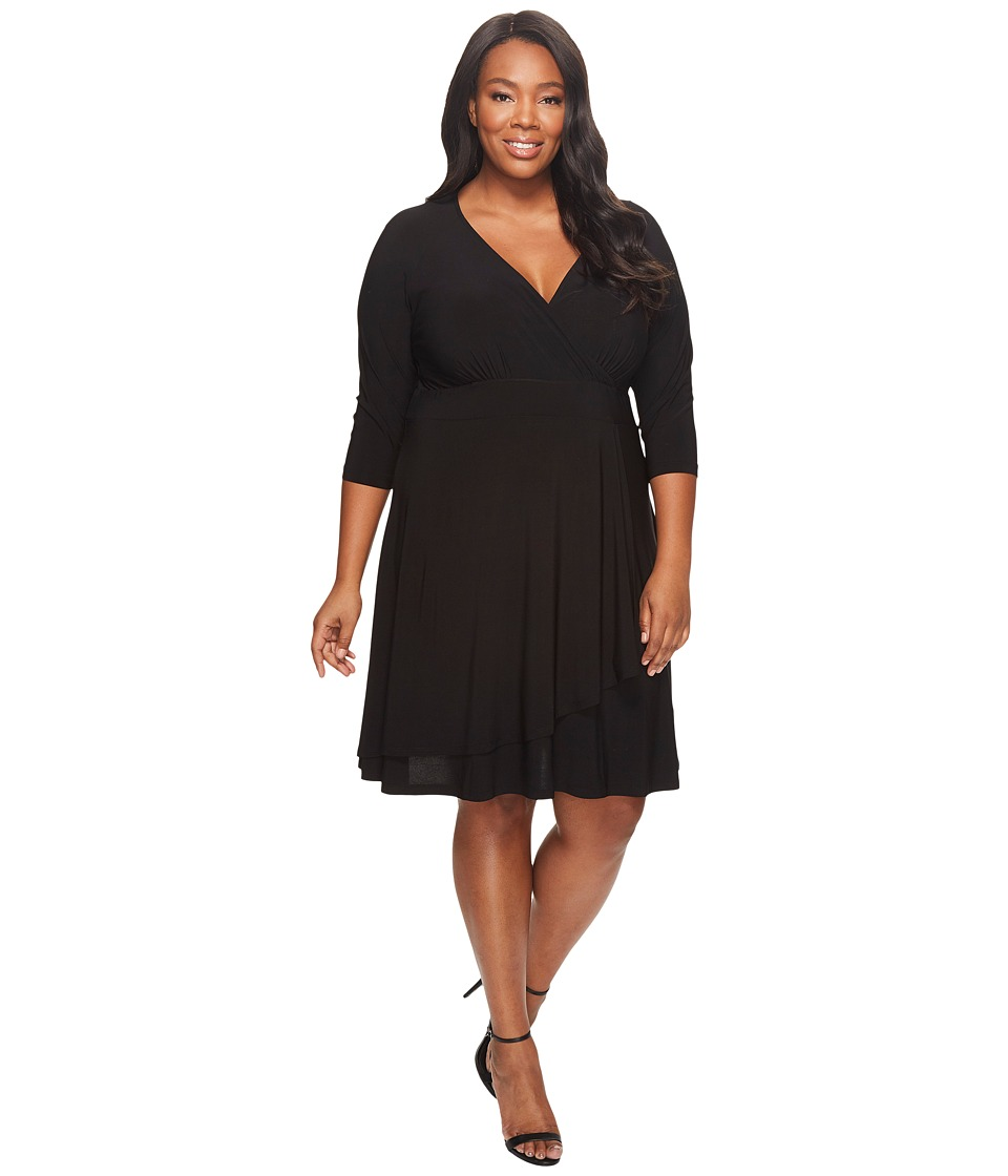 Karen Kane Plus - Plus Size 3/4 Sleeve Cascade Wrap Drape Dress