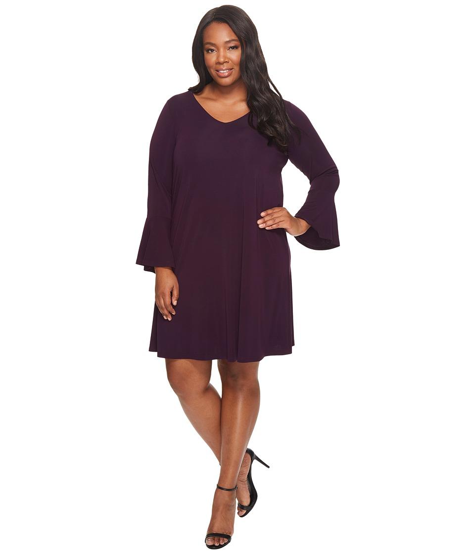 Karen Kane Plus Plus Size Flare Sleeve Taylor Dress (Eggplant) Women