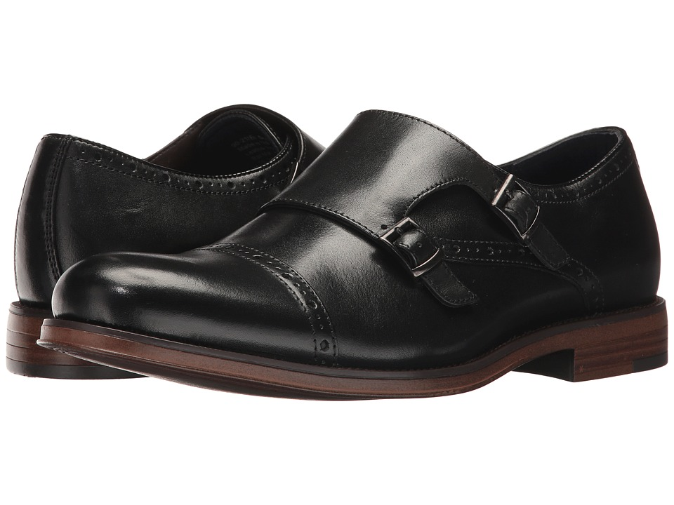Dockers Maycrest Cap Toe Double Monk (Black Polished Full Grain) Men