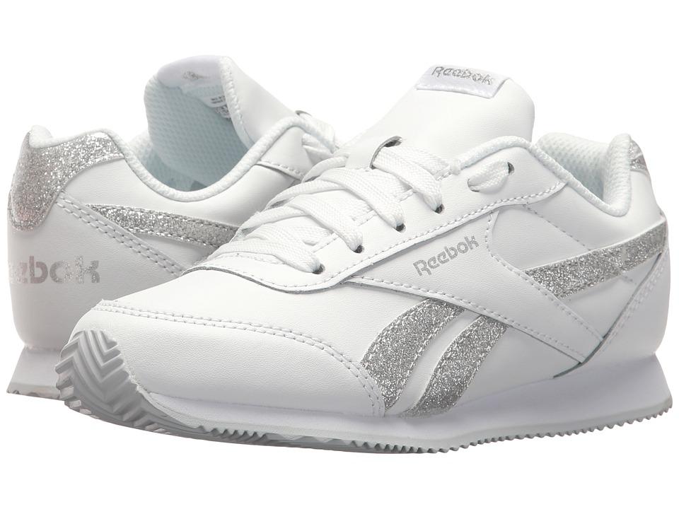 Reebok Kids Royal CL Jogger 2 (Little Kid/Big Kid) (White/Silver Sparkle) Girls Shoes