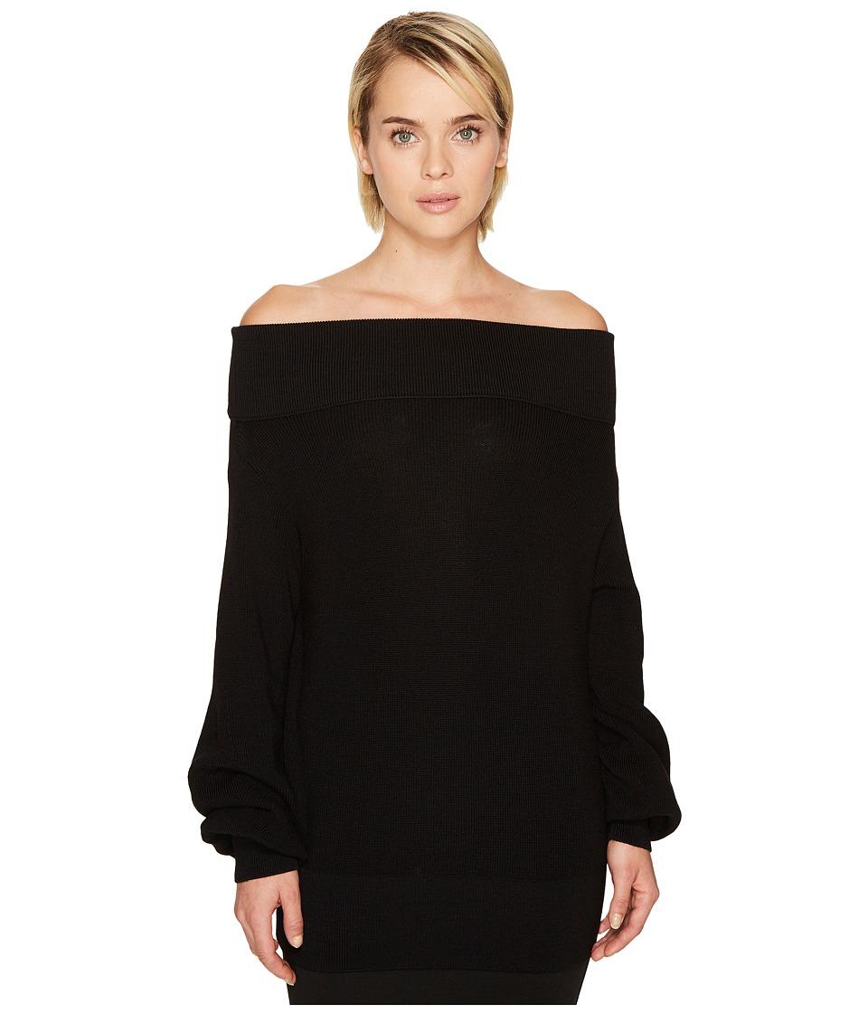 FUZZI - Long Sleeve Off the Shoulder Merino Knit Sweater
