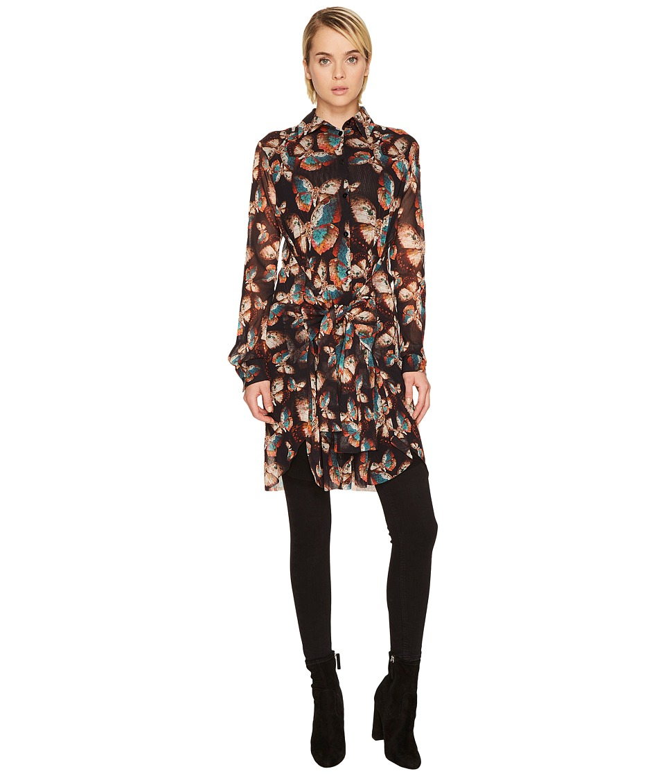 FUZZI - Butterfly Long Sleeve Button Up Tulle Top
