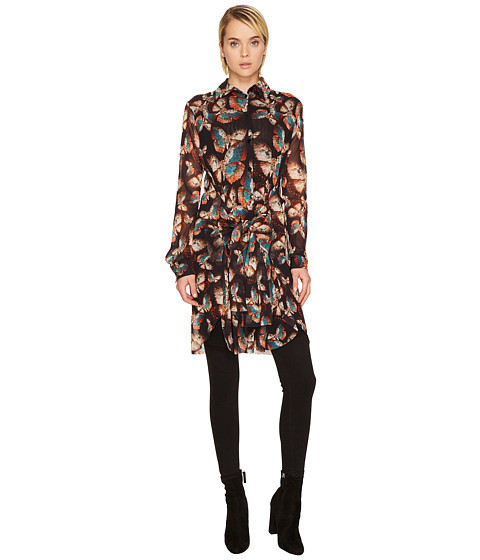 FUZZI Butterfly Long Sleeve Button Up Tulle Top