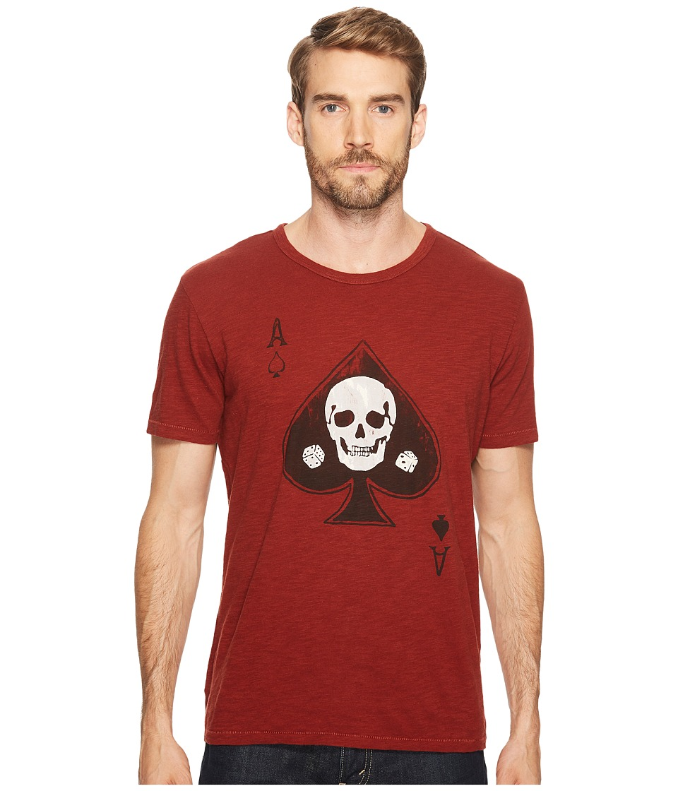 Lucky Brand Skull Ace Graphic Tee (Fired Brick) Men
