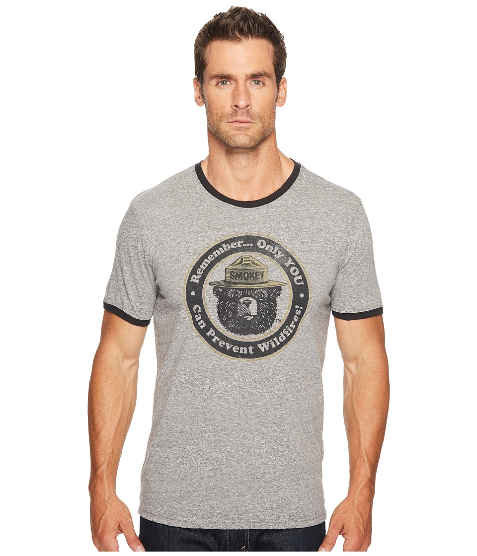 Lucky Brand Smokey the Bear Ringer Tee (Multi (Heather Grey Body/Black Ringer)) Men