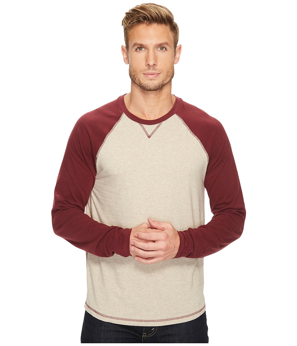 Lucky Brand Saturday Stretch Color Block Tee (Burgundy Sleeve/Oatmeal Body) Men