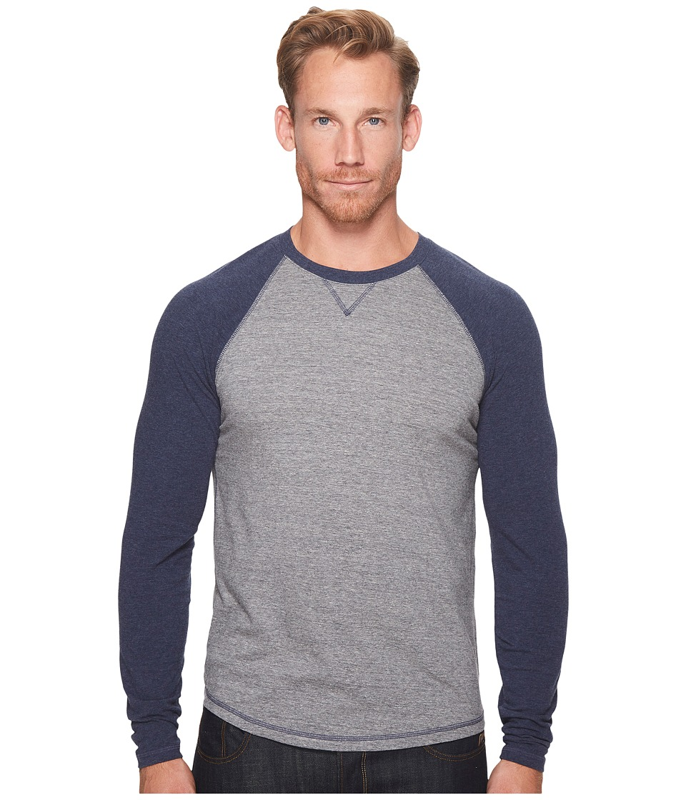 Lucky Brand Saturday Stretch Color Block Tee (Navy Sleeve/Heather Blue Body) Men