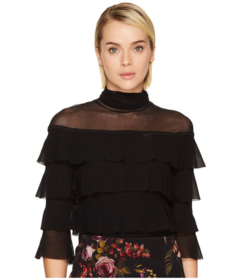 FUZZI 3/4 Sleeve Mesh Turtleneck Multi Ruffle