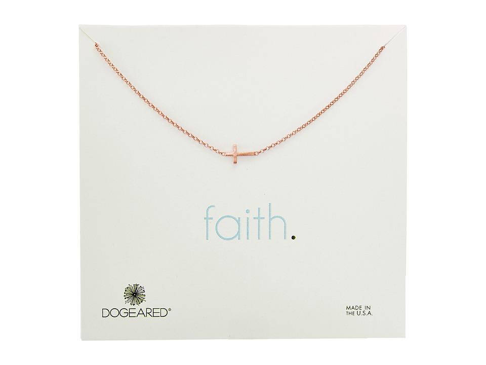 Dogeared Faith, Small Sideways Cross Necklace (Rose Gold)...