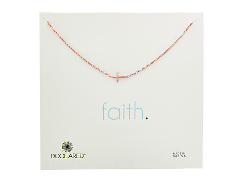 Dogeared Faith, Small Sideways Cross Necklace - Rose Gold
