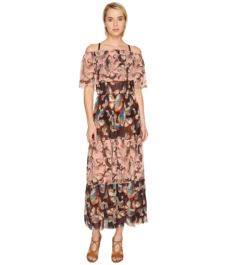 FUZZI Off the Shoulder Butterfly Patchwork Dress Cover-Up (Alba) Women