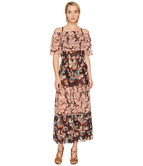 FUZZI Off the Shoulder Butterfly Patchwork Dress Cover-Up