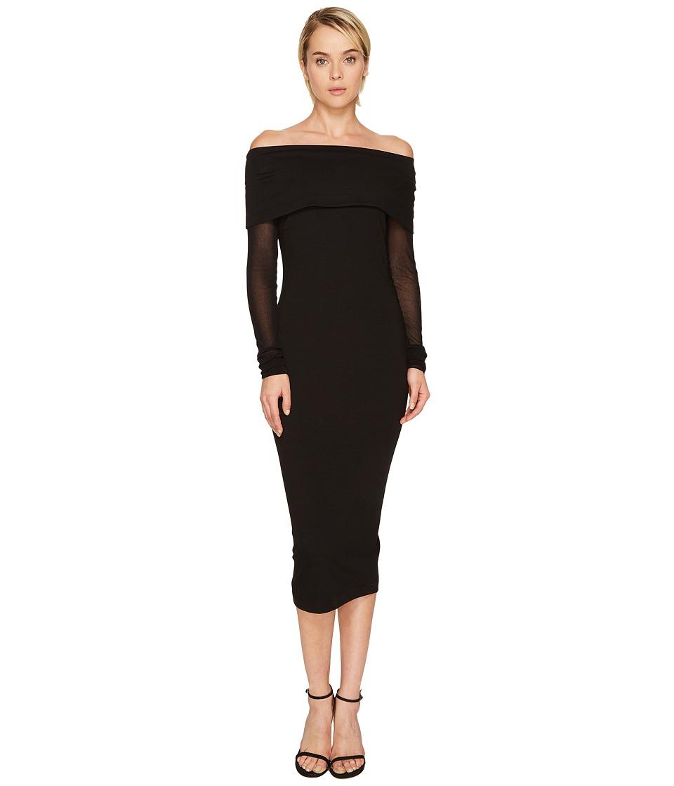 FUZZI Mesh Long Sleeve Off the Shoulders 3/4 Dress Cover-Up (Nero) Women