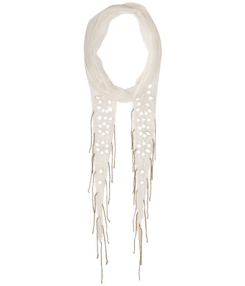 Chan Luu Chiffon Skinny Scarf with Mirrored Embroidery - Off-White