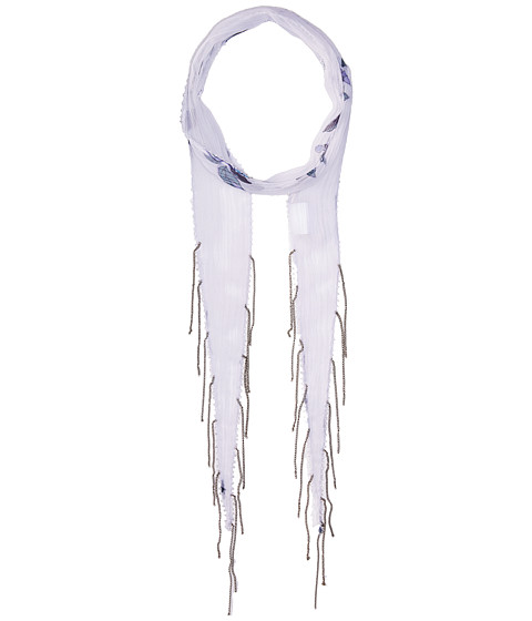 Chan Luu Chiffon Floral Print Long Skinny Scarf - White Combo