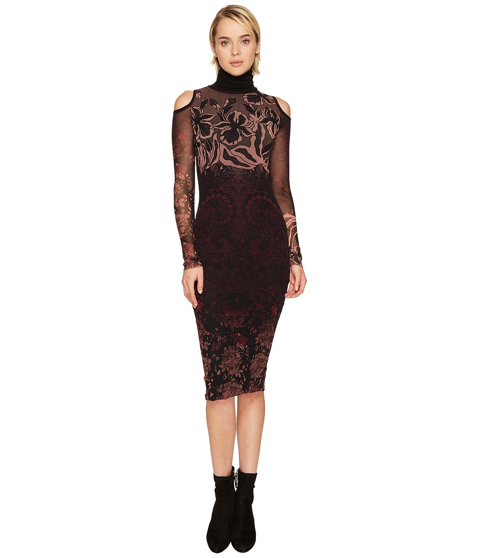 FUZZI - Cut Out Shoulder Long Sleeve Turtleneck Layered Lace Dress Cover